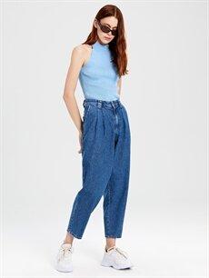 Kadın Yüksek Bel Bol Jean Pantolon