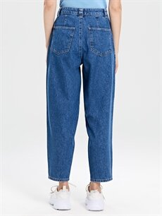 %100 Pamuk Yüksek Bel Bol Jean Pantolon