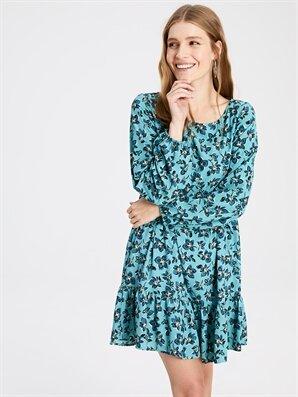 Fırfır Detaylı Çiçek Desenli Krep Elbise - LC WAIKIKI