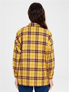 Kadın Cep Detaylı Ekose Gömlek