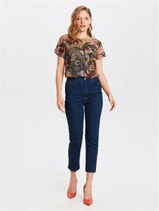 %90 Pamuk %7 Poliester %3 Elastan Yüksek Bel Standart Esnek Jean Yüksek Bel Esnek Jean