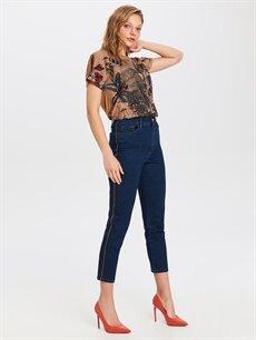 Kadın Yüksek Bel Esnek Jean