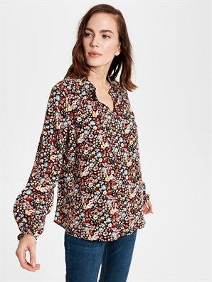 Çiçek Desenli Fırfır Detaylı Viskon Bluz - LC WAIKIKI