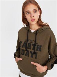 %50 Pamuk %50 Polyester  Slogan Baskılı Sweatshirt