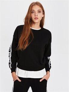 %50 Pamuk %50 Polyester  Kolları Serit Slogan Baskılı Sweatshirt