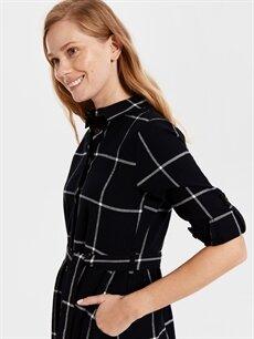 Kadın Kuşaklı Kareli Uzun Gömlek Elbise