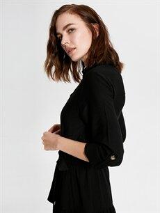 %70 Pamuk %30 Viskoz Düğme Detaylı Kuşaklı Uzun Elbise