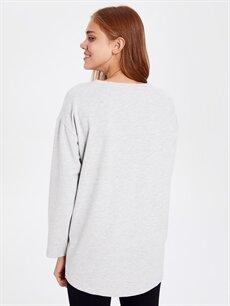 Kadın Cep Detaylı Düz Basic Pijama Üst