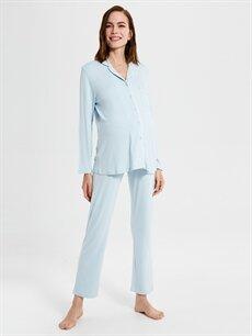 Mavi Viskon Hamile Pijama Takımı 9WV028Z8 LC Waikiki
