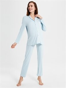 %97 Viskon %3 Elastan İç Giyim Viskon Hamile Pijama Takımı