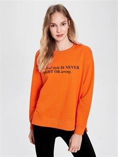 Turuncu Slogan Baskılı Sweatshirt 9WV209Z8 LC Waikiki