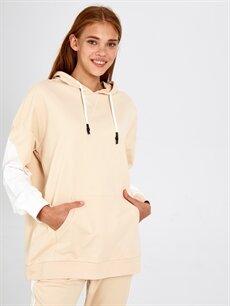 %100 Pamuk Standart Pijamalar Kapüşonlu Renk Bloklu Pijama Üst