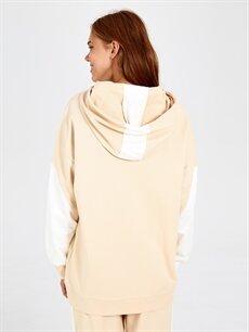 Kadın Kapüşonlu Renk Bloklu Pijama Üst