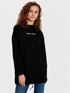 %68 Pamuk %32 Polyester  Yazı Baskılı Spor Sweatshirt