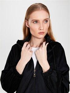 %100 Polyester Orta Orta Ceket Kapüşonlu Fermuarlı Kadife Ceket