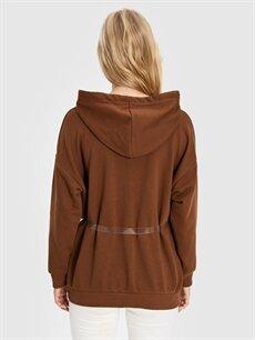 Kadın Quzu Saydam Çantalı Baskılı Kapüşonlu Sweatshirt