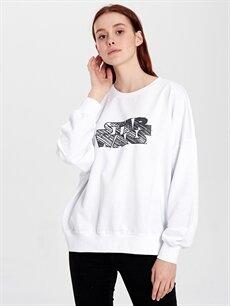 %100 Pamuk  Star Wars Baskılı Pamuklu Sweatshirt