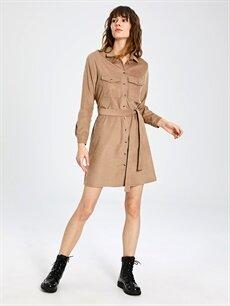%97 Polyester %3 Elastan %97 Polyester %3 Elastan Diz Üstü Uzun Kol Kuşaklı Kadife Gömlek Elbise