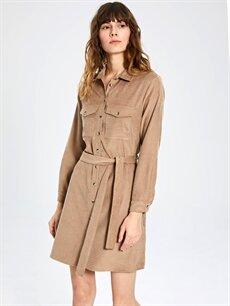 Kadın Kuşaklı Kadife Gömlek Elbise