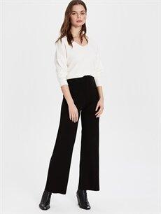 %100 Akrilik Standart Yüksek Bel Esnek olmayan Triko Geniş Paça Pantolon Yüksek Bel Triko Pantolon