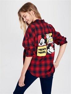 Kadın Mickey Mouse Baskılı Ekose Gömlek