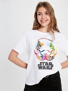 %100 Pamuk Standart Baskılı Tişört Bisiklet Yaka Star Wars Baskılı Pamuklu Tişört