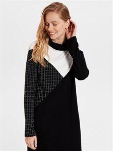 %26 Polyester %70 Viskoz %4 Elastan Diz Altı Desenli Uzun Kol Renk Bloklu Elbise