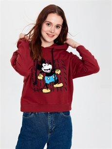 %51 Pamuk %49 Polyester  Mickey Mouse Baskılı Kapüşonlu Sweatshirt