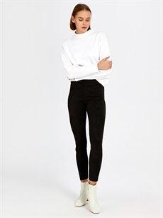 %87 Polyester %13 Elastan Yüksek Bel Esnek Skinny Kısa Paça Pantolon Bilek Boy Süet Pantolon