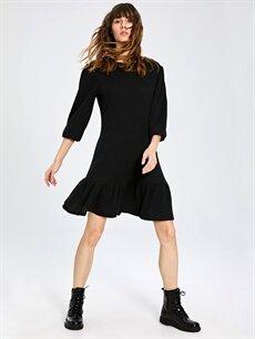 Siyah Fırfır Detaylı Esnek Elbise 9WY449Z8 LC Waikiki