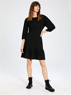 %94 Polyester %6 Elastan Diz Üstü Uzun Kol Fırfır Detaylı Esnek Elbise