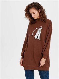 Kahverengi Grafik Baskılı Oversize Sweatshirt 9WY481Z8 LC Waikiki