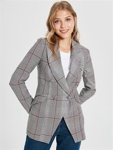 Kadın Sateen Yaka Detaylı Ekose Ceket
