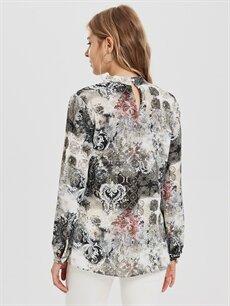 Kadın Sateen Dik Yaka Desenli Bluz
