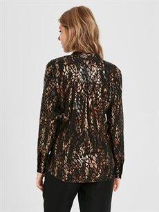 Kadın Sateen Desenli Kruvaze Bluz