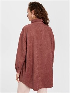 %100 Polyester Yazı Detaylı Poplin Tunik