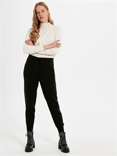 %50 Akrilik %50 Pamuk Normal Bel Standart Triko Lastikli Bel Pantolon Triko Jogger Pantolon