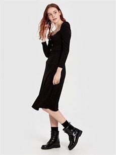 Siyah Quzu Düğme Detaylı Elbise 9WY933Z8 LC Waikiki
