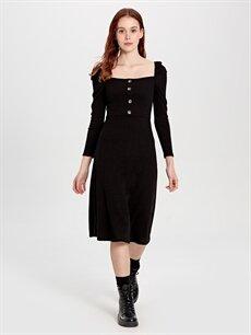 Diz Altı Desenli Uzun Kol Quzu Düğme Detaylı Elbise