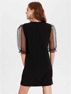Kadın Diz Üstü Düz Kısa Kollu Elbise