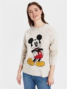 %74 Akrilik %26 Polyester Desenli Orta Kazak Bisiklet Yaka Mickey Mouse Baskılı Ttiko Kazak