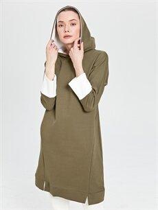 Kaktüs Kapüşonlu Uzun Sweatshirt