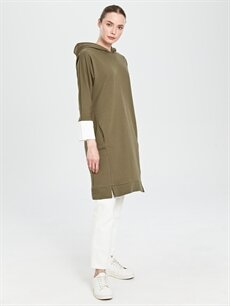 Kadın Kaktüs Kapüşonlu Uzun Sweatshirt