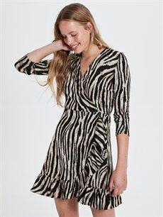 Ekru Quzu Zebra Desenli Elbise 9WA686Z8 LC Waikiki