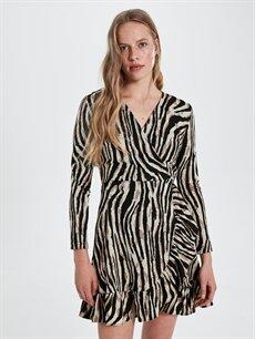 Kadın Quzu Zebra Desenli Elbise