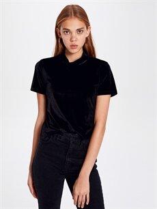 %92 Polyester %8 Elastan Standart Düz Kısa Kol Tişört Diğer Dik Yaka Kadife Tişört