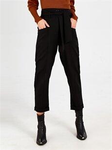 Yüksek Bel Havuç Kemerli Pantolon Nisan Triko Kuşaklı Yüksek Bel Havuç Pantolon