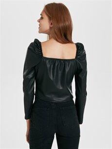 Kadın Quzu Deri Görünümlü Balon Kol Bluz