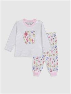 Beyaz Luggi Baby Yenidoğan Desenli Pijama Takımı 9WB866Z1 LC Waikiki