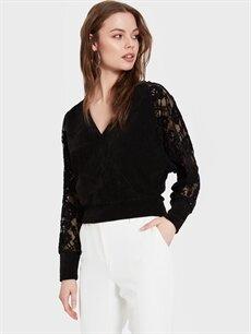 Kadın Sateen Kolları Dantel Detaylı Kruvaze Yaka Bluz